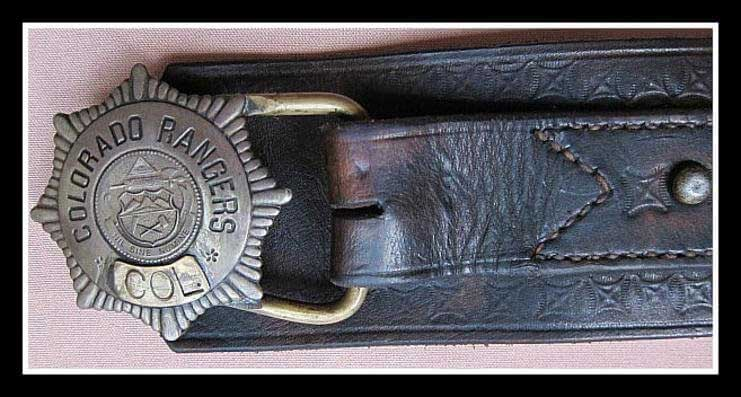 Buckle made from an actual Colorado Ranger Badge and is marked