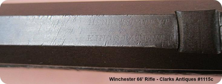 Barrel address visible on Winchester 1866 Henry Marked Rifle